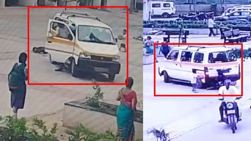 لحظه تصادف سرویس مدرسه با کودک 7 ساله